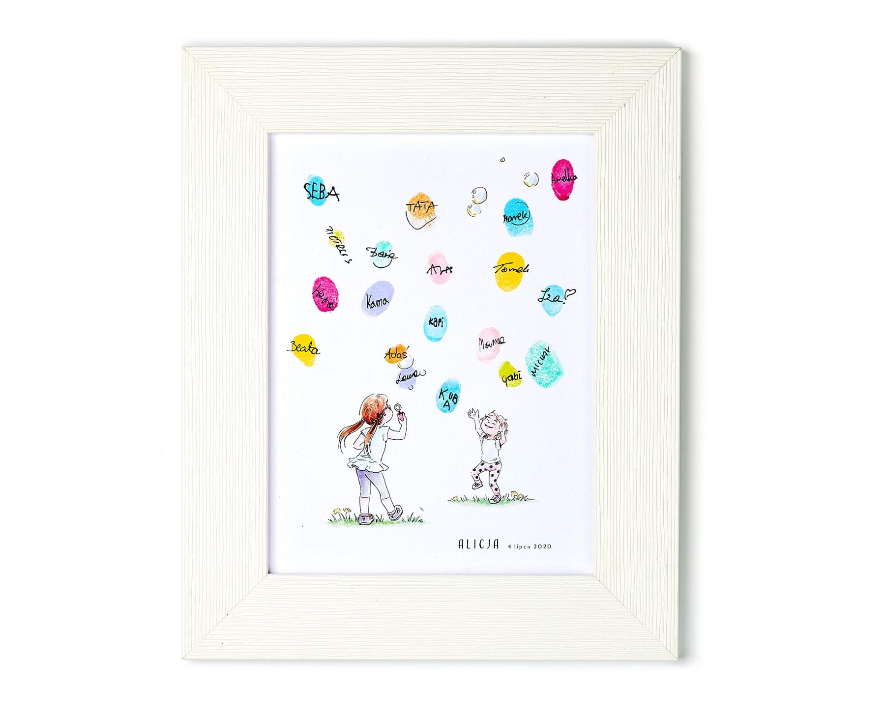 Pamiątka urodzinowa, obrazek w ramce, bańki mydlane z odcisków palców