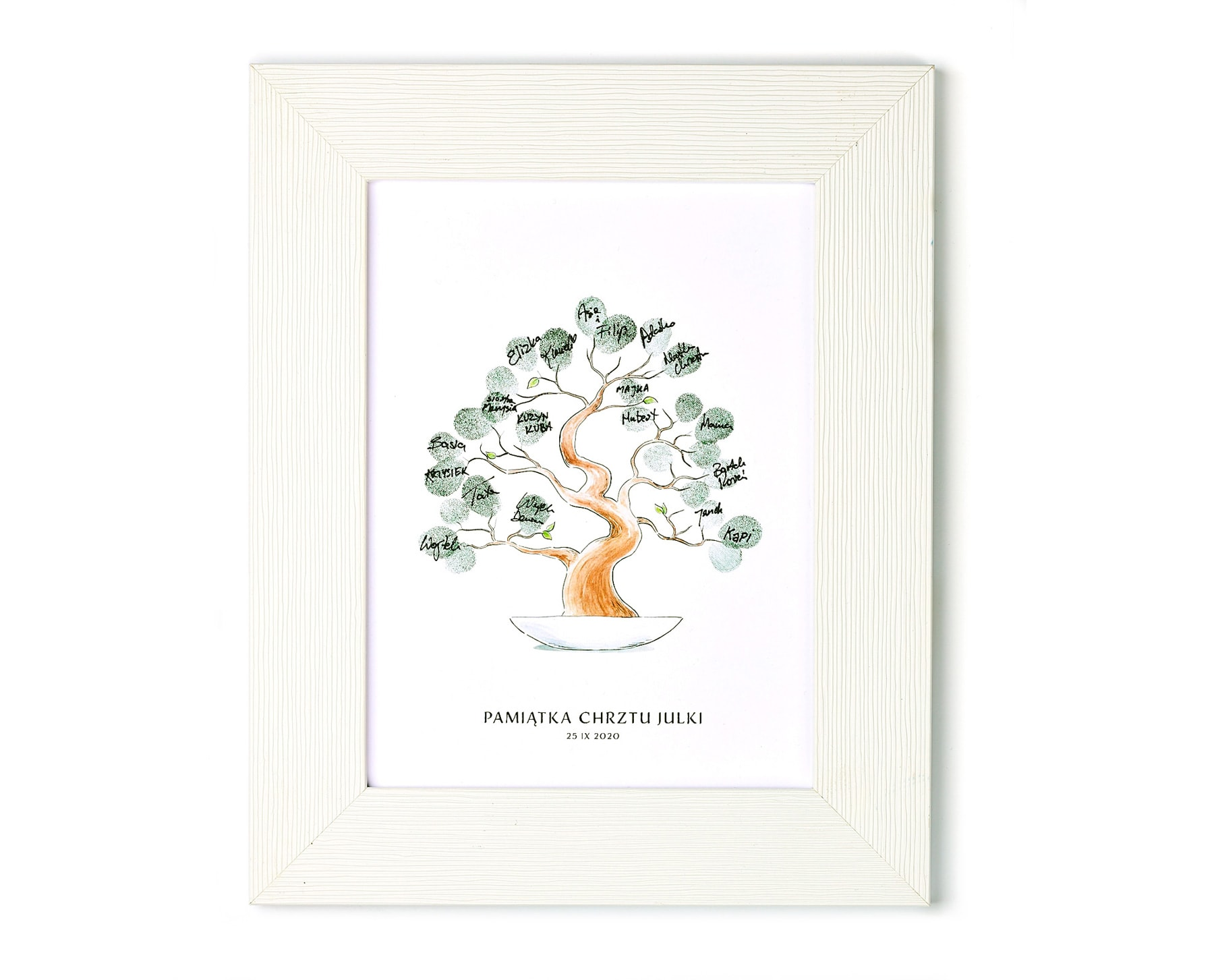 Pamiątka z chrztu świętego, obrazek w ramce, drzewko bonsai z odciskami palców