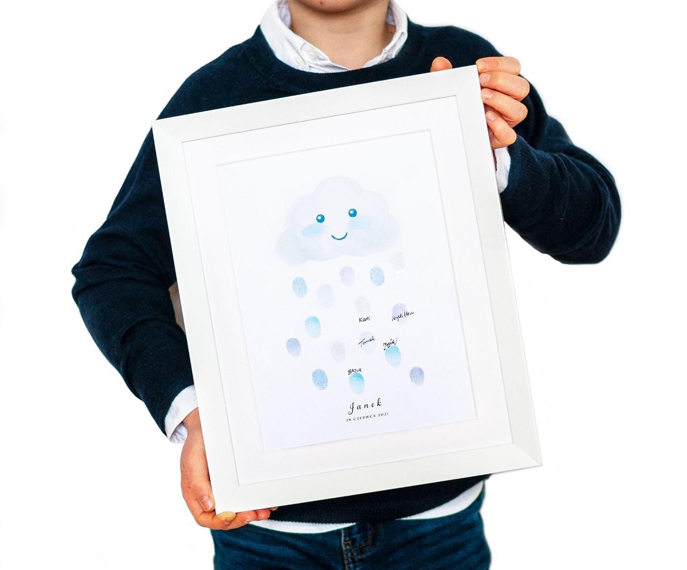 Pamiątka urodzin, rysunek chmurki z której lecą krople z odcisków palców