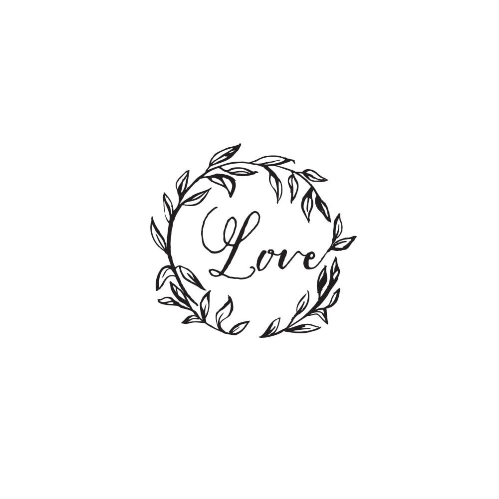 Pieczątka ozdobna z napisem love i listkami