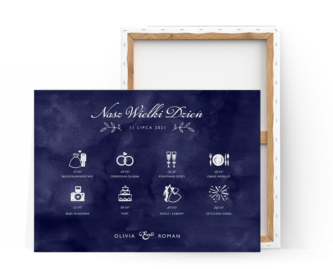 Plan ceremonii ślubnej z rysunkami i opisem w stylu klasycznym