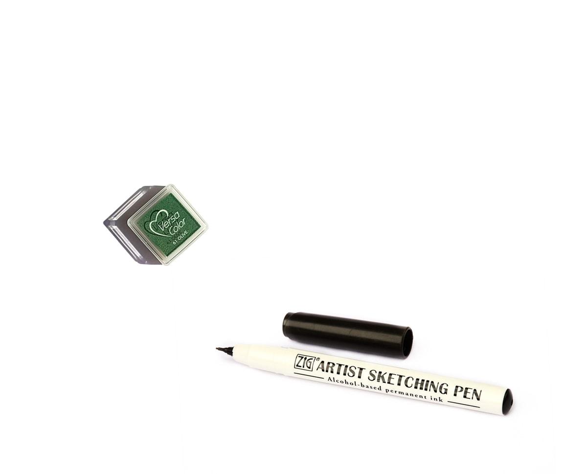 Poduszka z zielonym oliwkowym tuszem do robienia odciskó palców