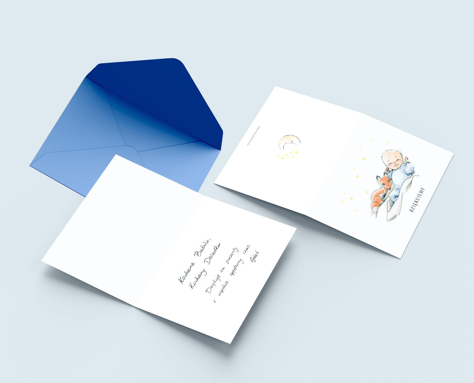 Podziękowania dla gości, karteczki składane z rysunkiem na okładce