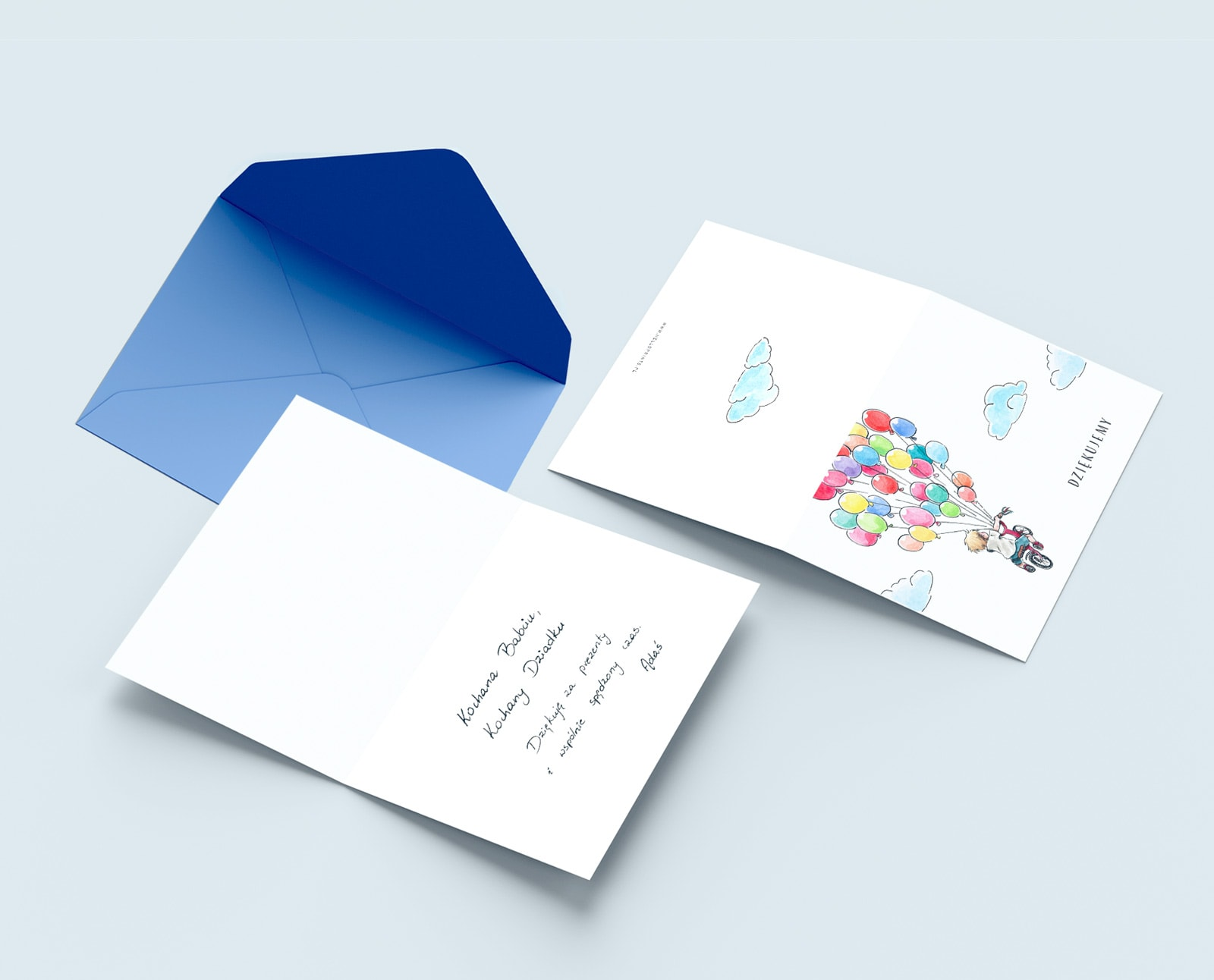 Podziękowania, kartki składane do własnoręcznego wypisania