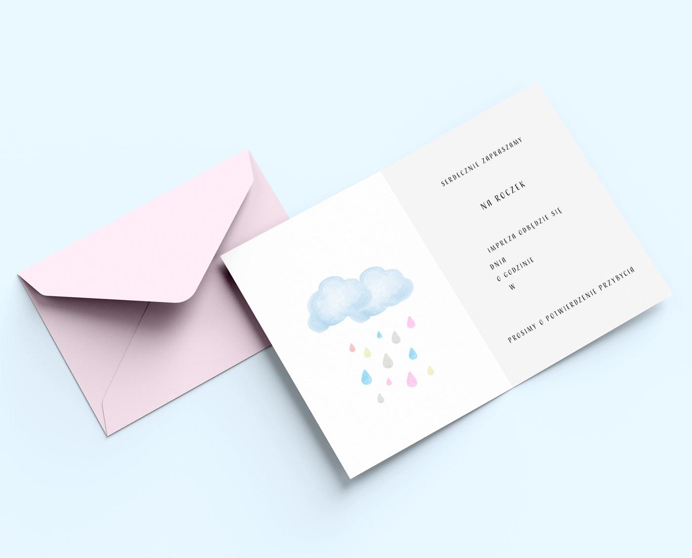 roczek dziewczynki, zaproszenia z różową kopertą i chmurką