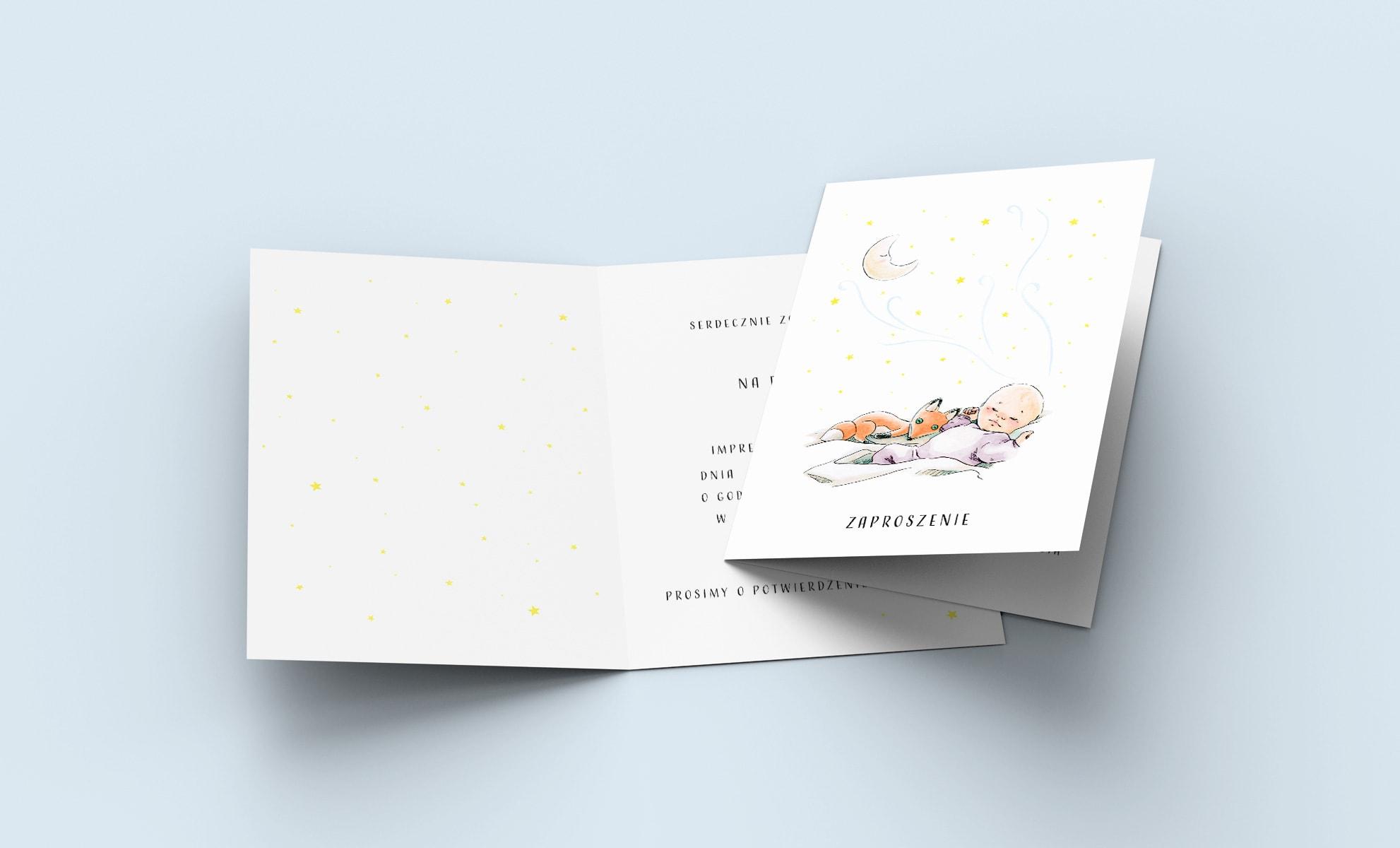 Kartka z zaproszeniem na roczek dziecka, śpiąca dziewczynka z liskiem