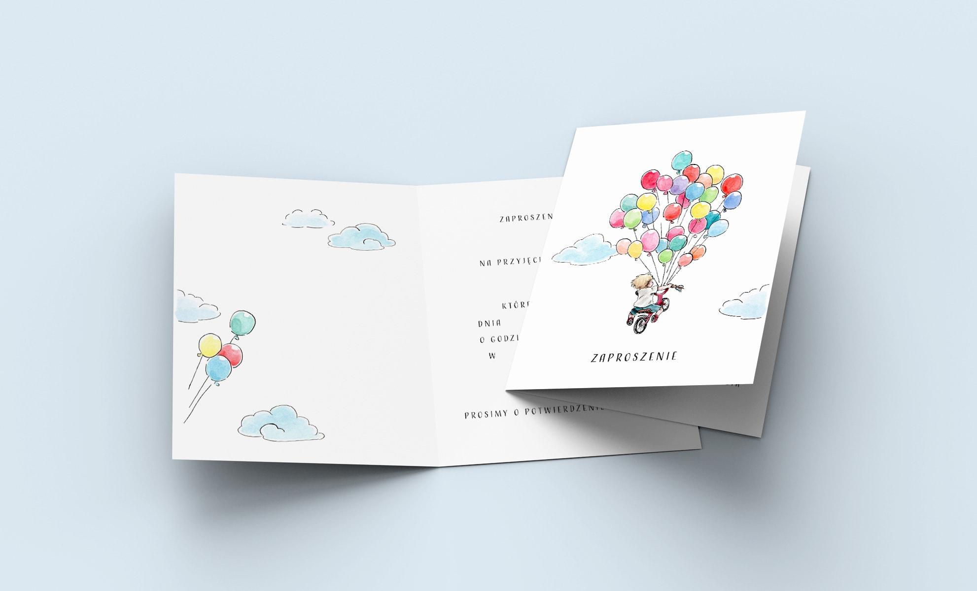 Zaproszenia urodzinowe, chłopczyk na rowerku z kolorowymi balonikami