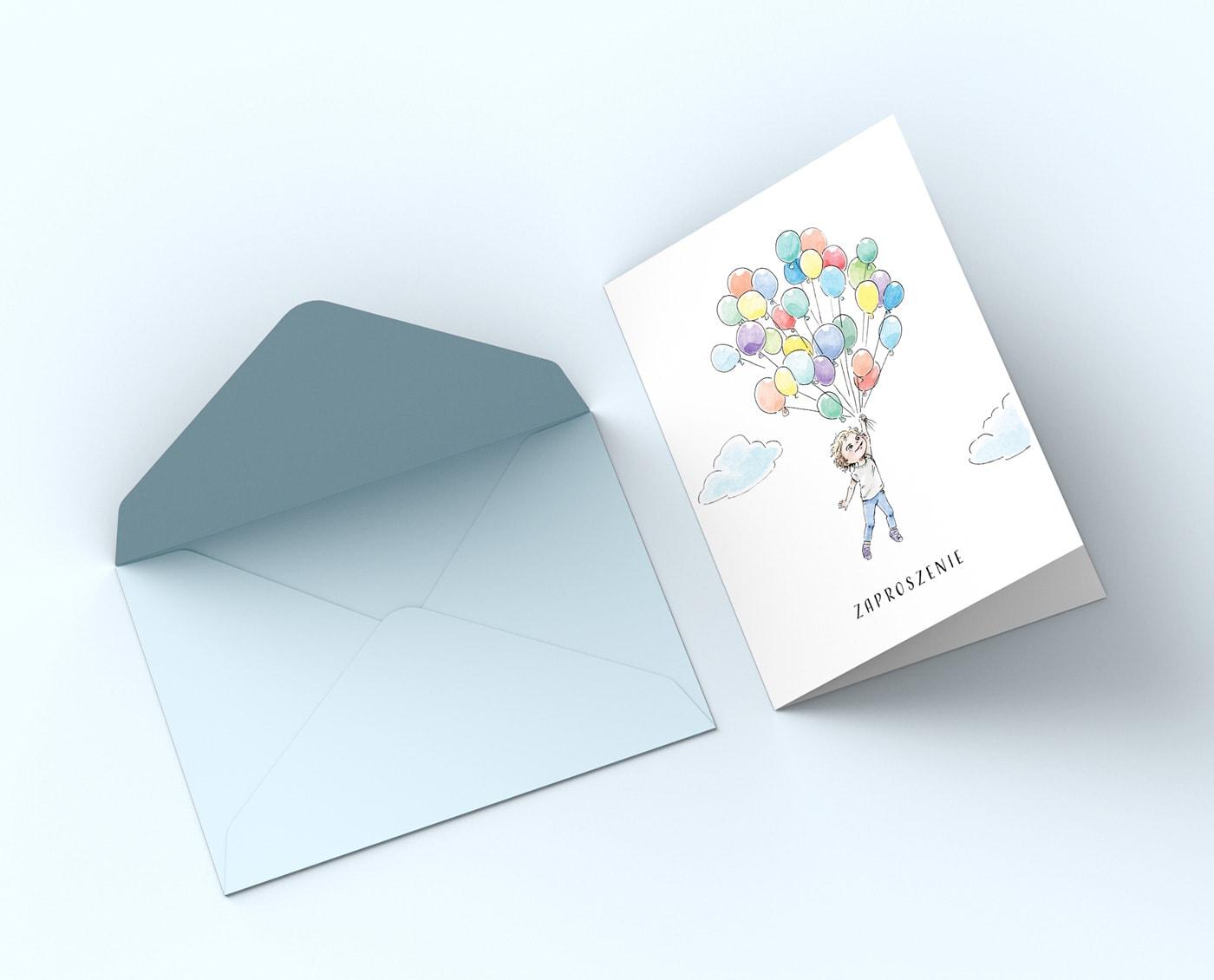 Zaproszenia na urodziny dla chłopca z balonami