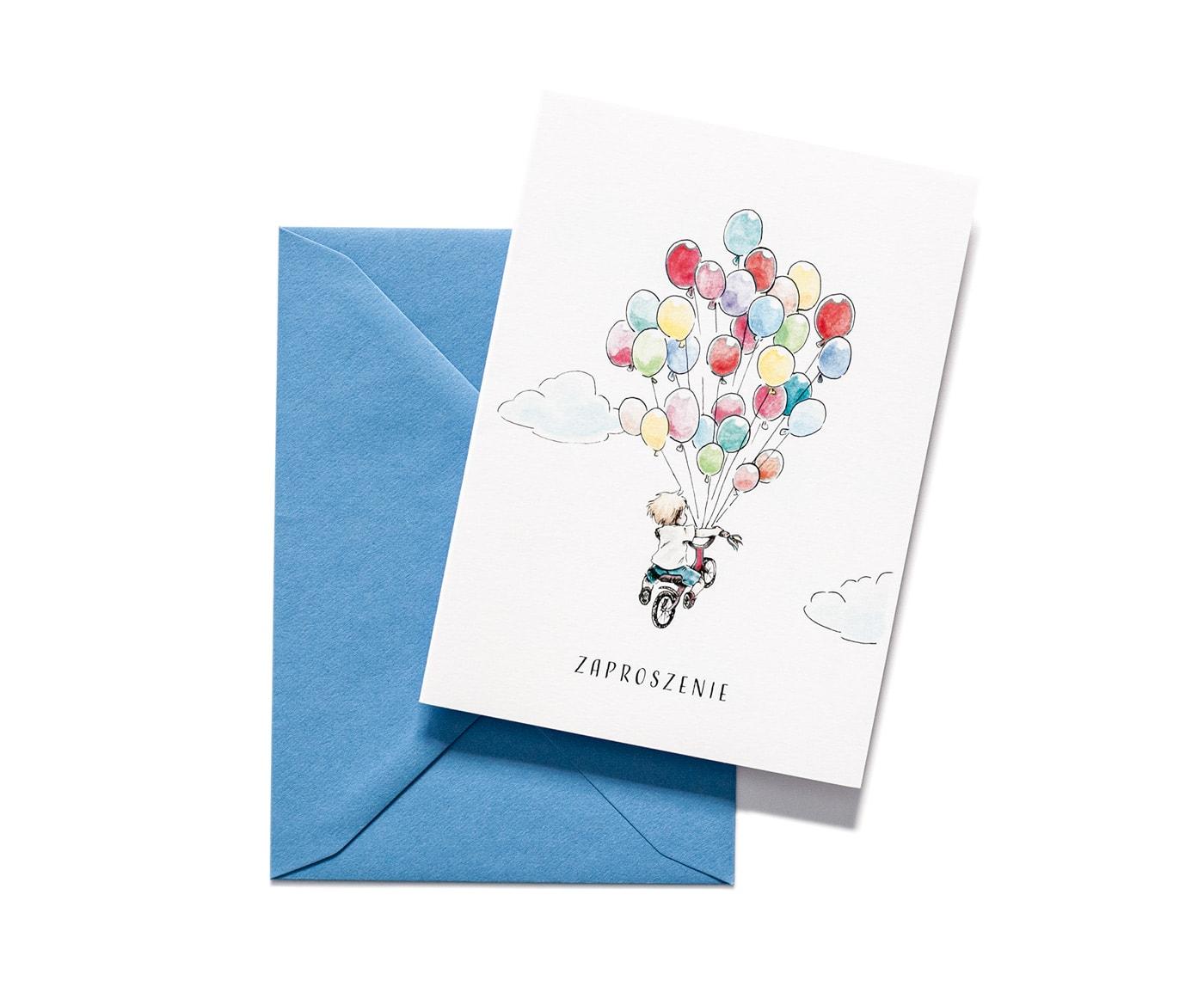 zaproszenia na urodziny dla chłopczyka, kolorowe balony
