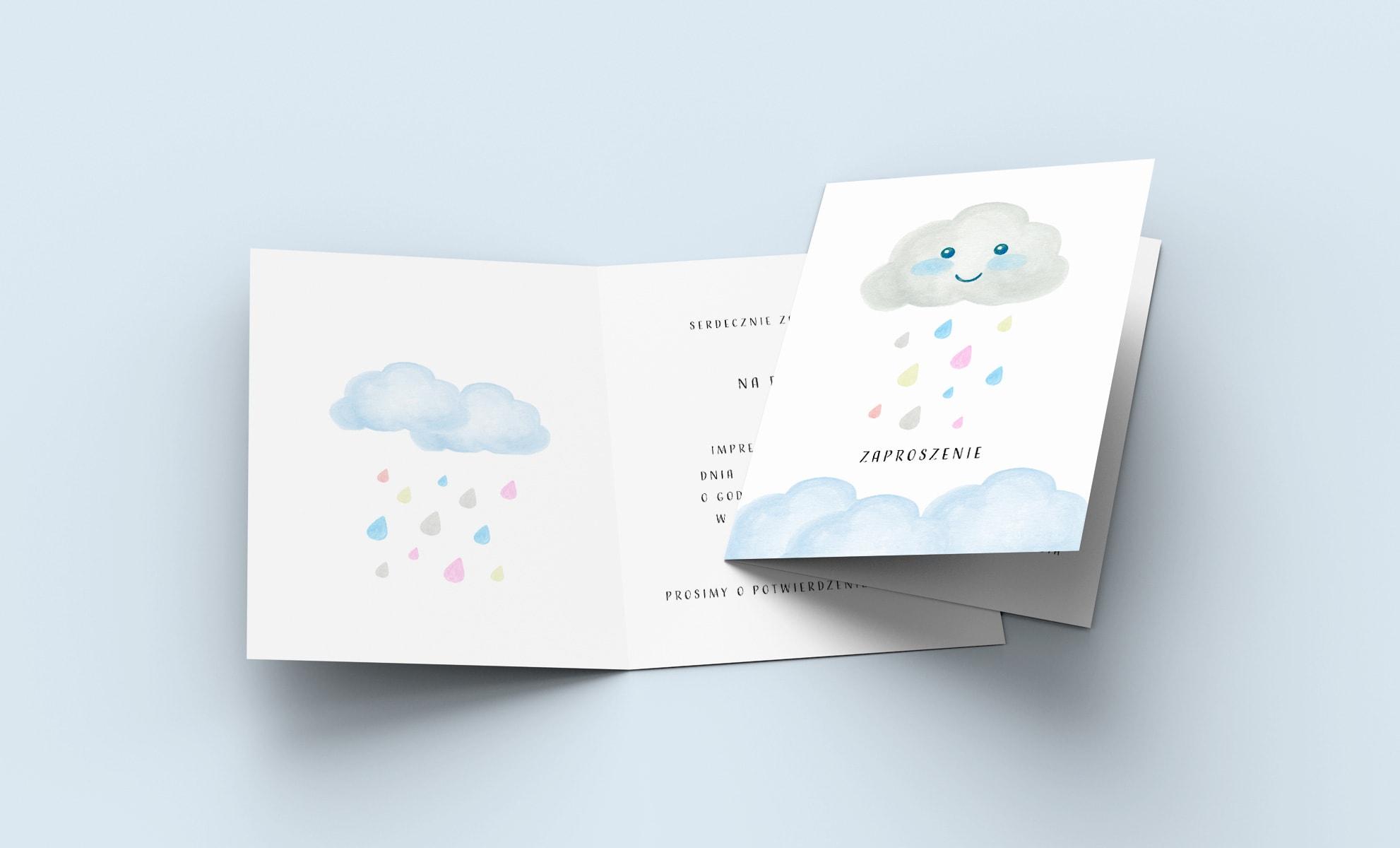 Zaproszenia na roczek z wesołą chmurką i kroplami deszczu