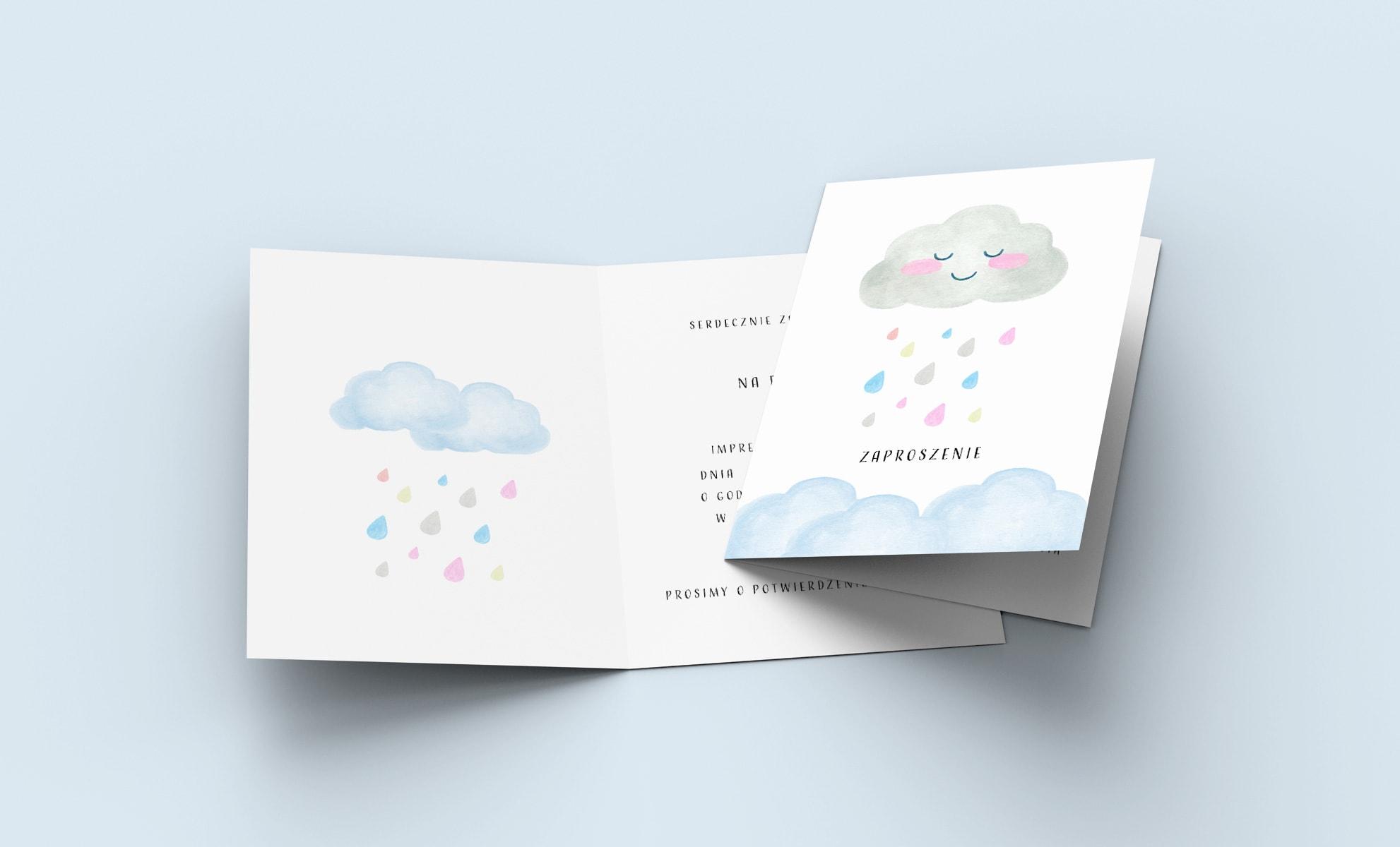 zaproszenia na urodziny, roczek dla dziewczynki, chmurka z kolorowymi kroplami