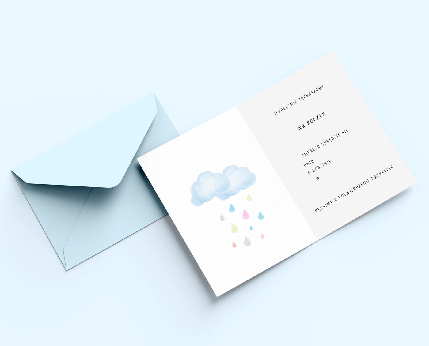 Zaproszenia na urodziny z uśmiechniętą chmurką
