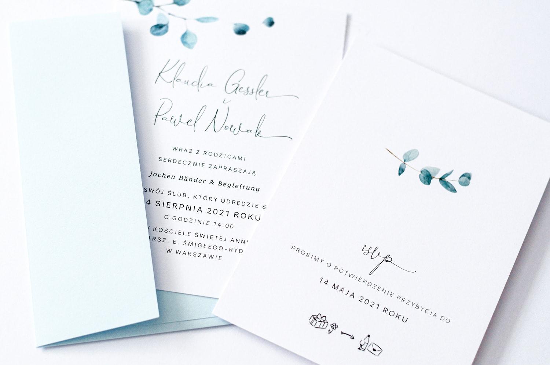 Minimalistyczne zaproszenia z listkami eukaliptusa