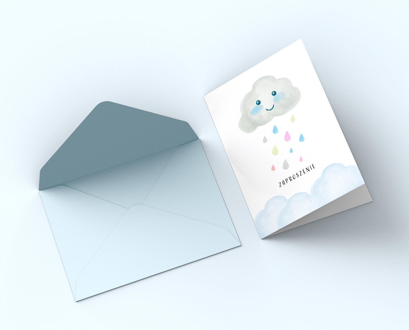 Zaproszenia urodzinowe, na roczek, chmurka z kropelkami