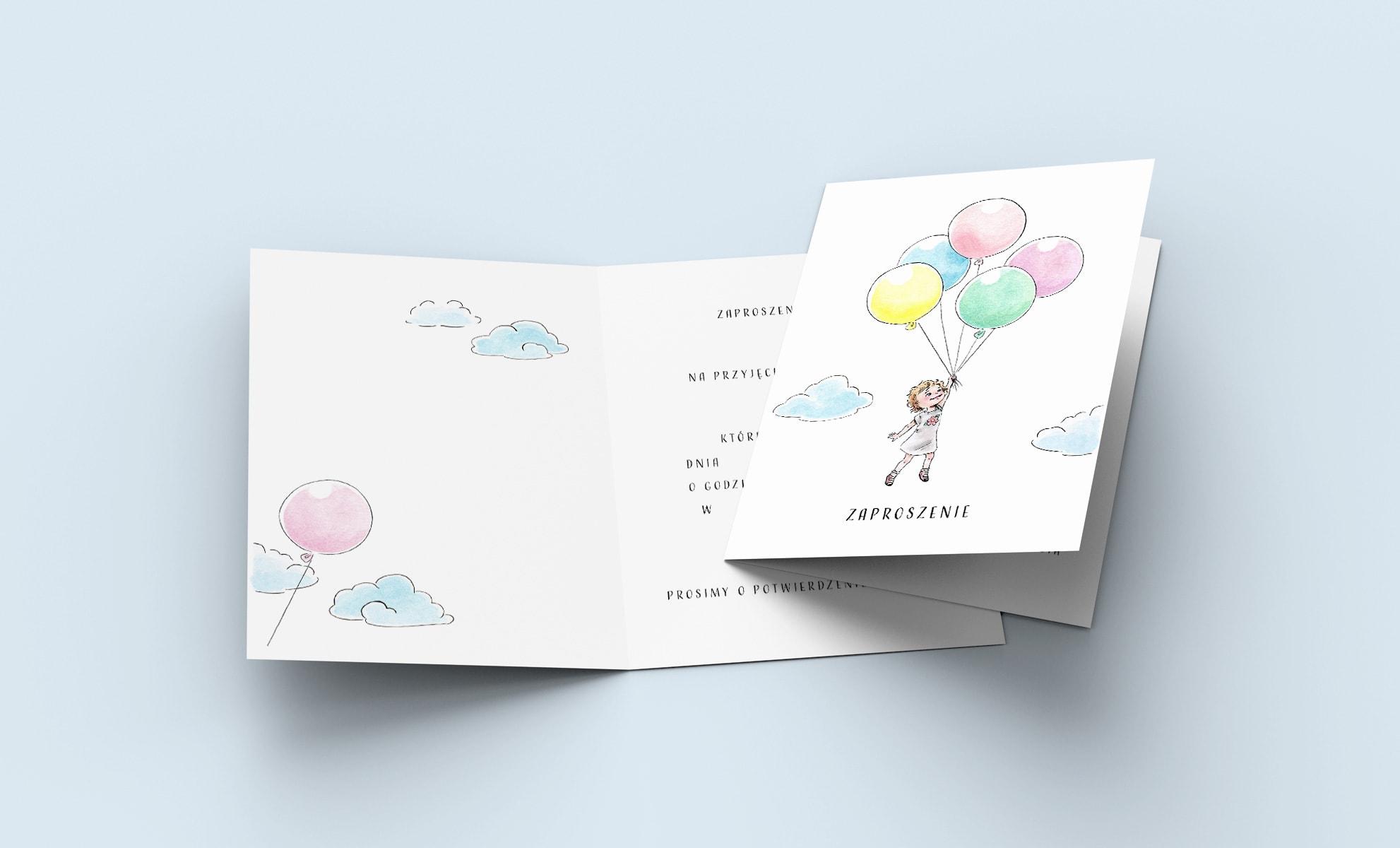 Zaproszenia urodzinowe dla dziewczynki z kolorowymi dużymi balonami