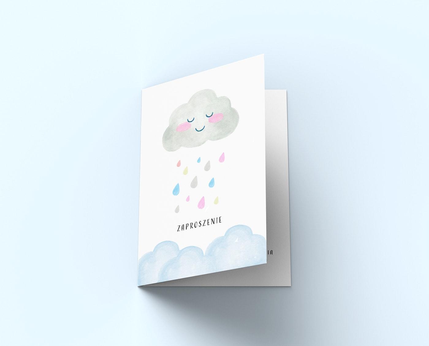 zaproszenia z akwarelową śmieszną chmurką