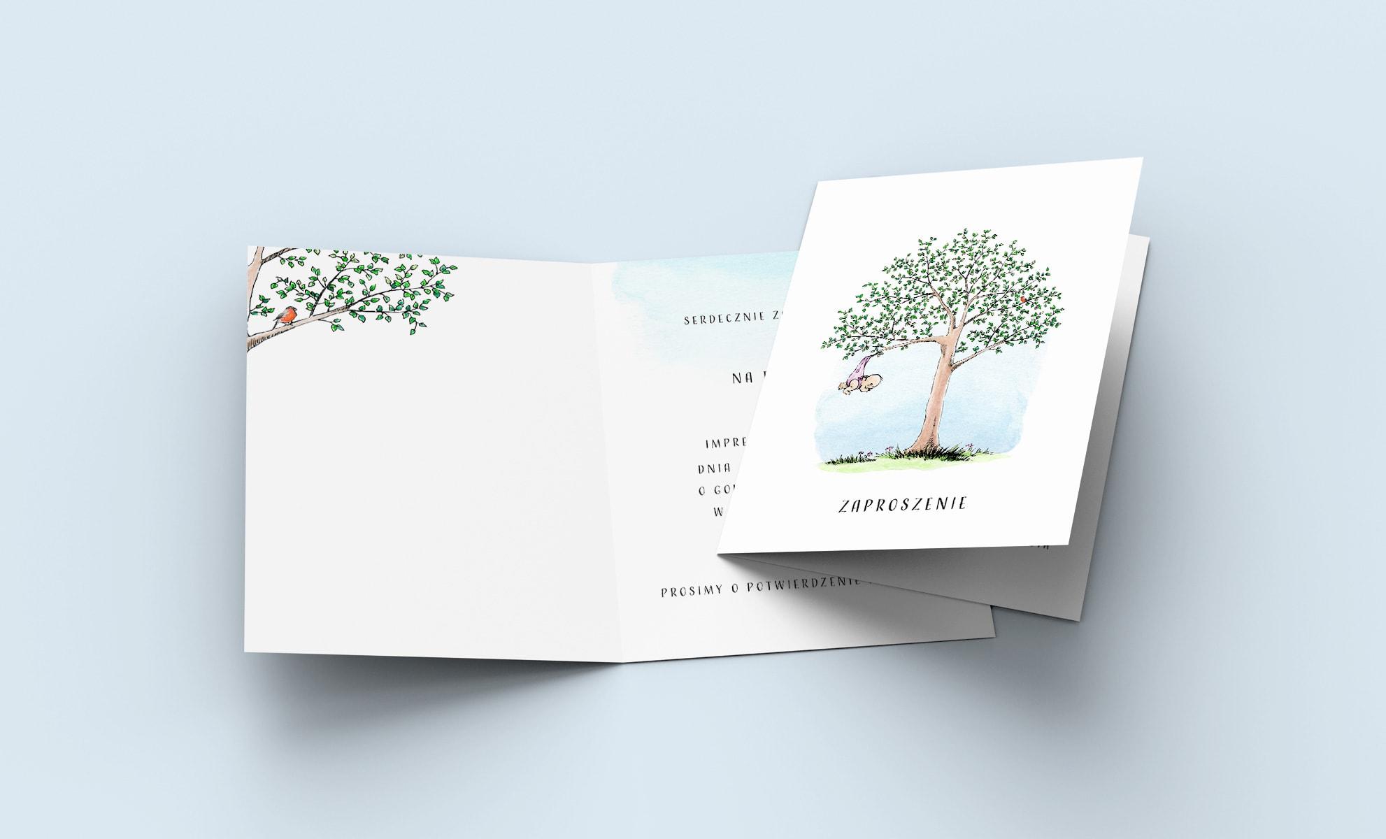 Zaproszenie na roczek dla dziewczynki, rysunek drzewka z dzidziusiem