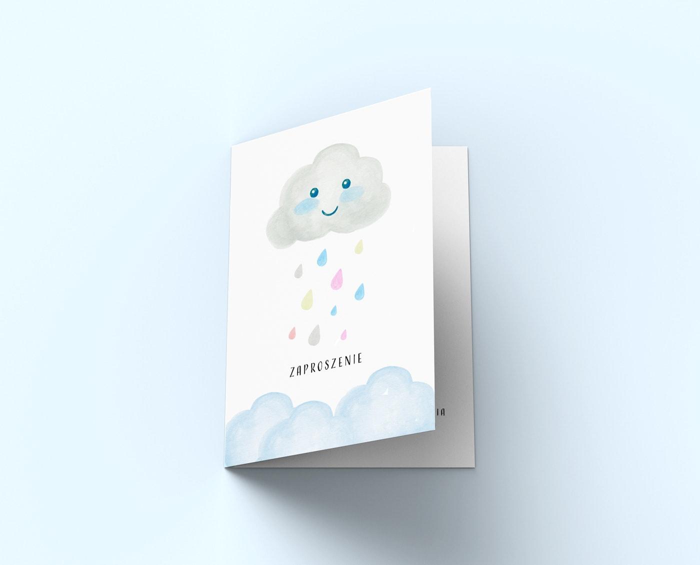 Zaproszenia z akwarelową chmurką i kroplami deszczu
