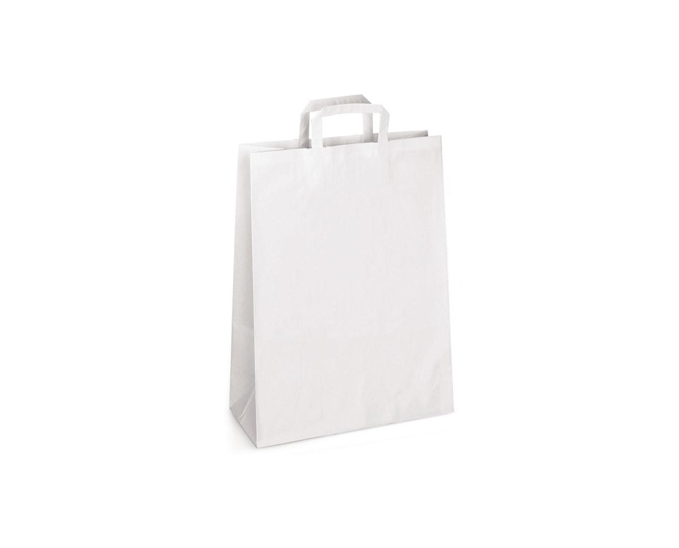 Biała torba papierowa kraft z płaskim uchwytem