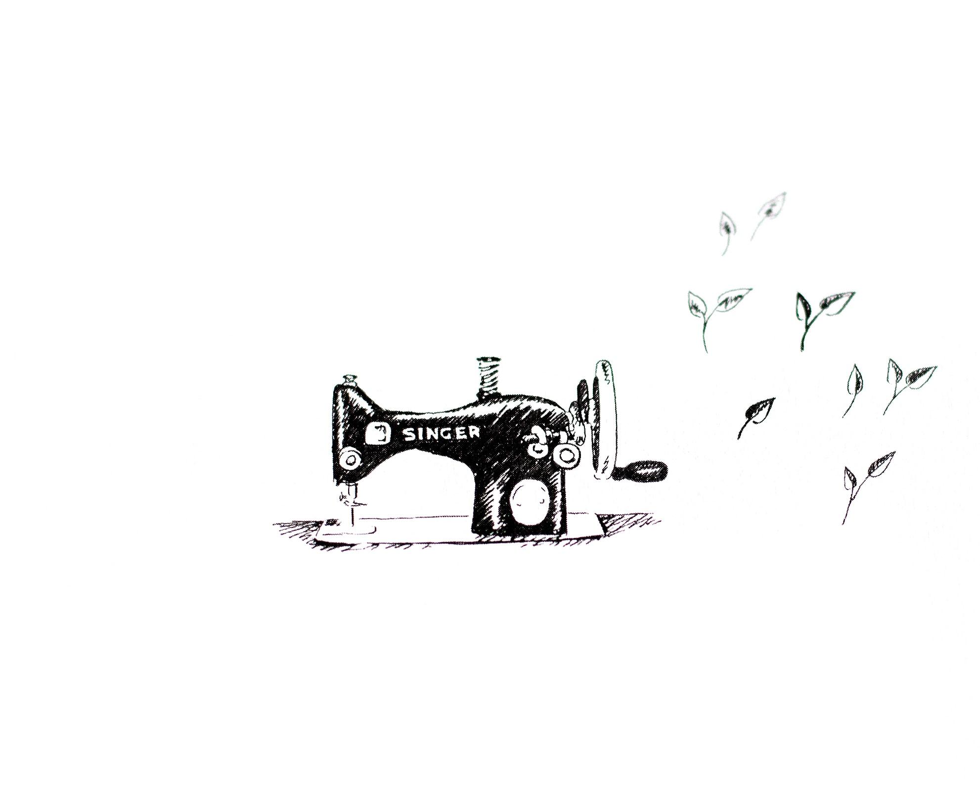 pieczątka drewniana rękodzieło, krawiectwo, maszyna do szycia