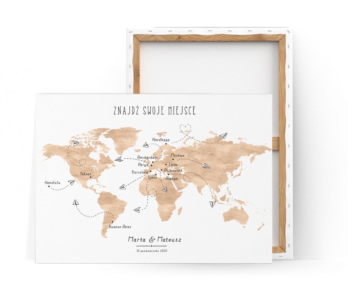 Tablica na powitanie gości z mapą świata i lecącymi samolocikami