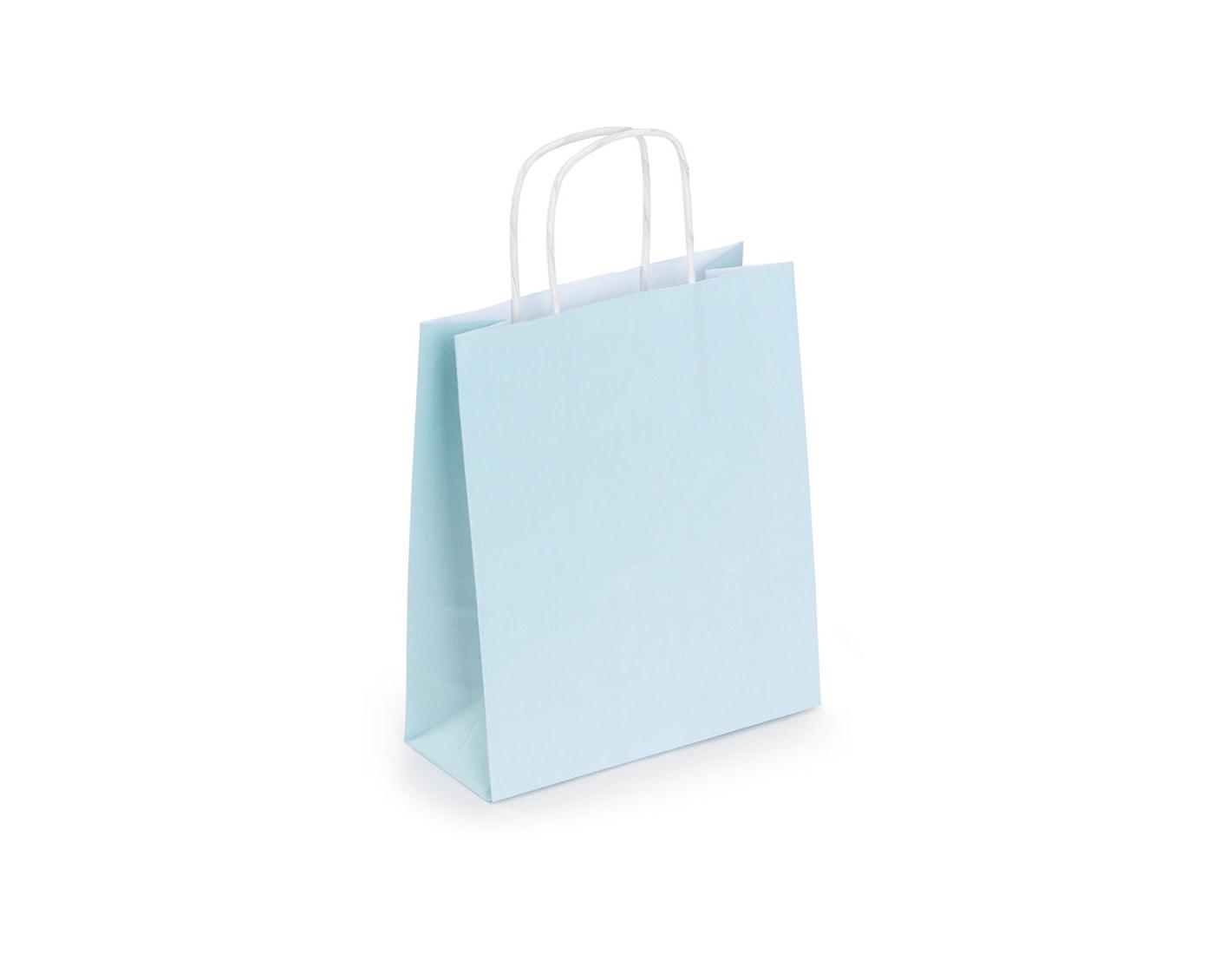 Torba papierowa kraft, jasno niebieska ze skręcanymi uchwytami