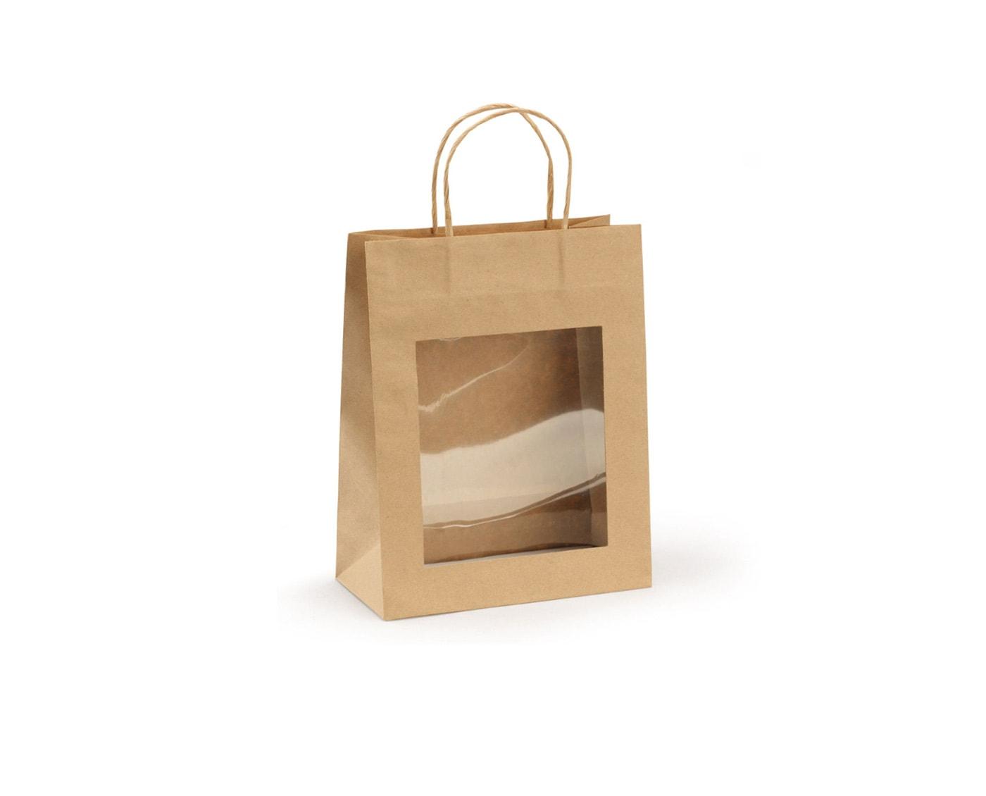 Torba na prezenty z okienkiem, papier kraft