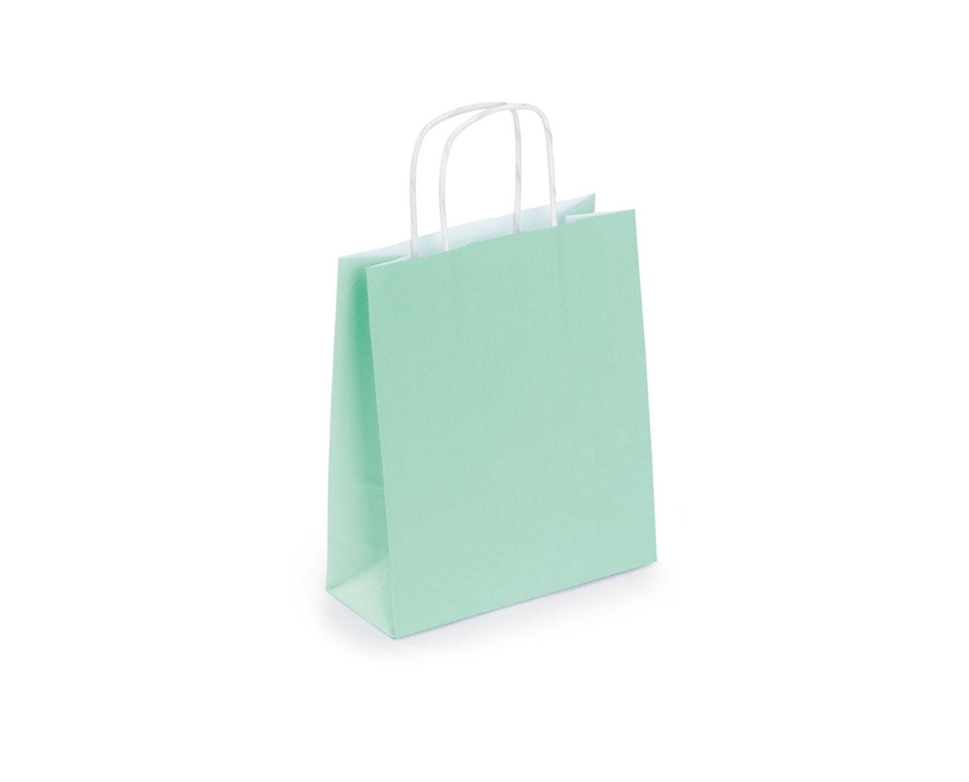 papierowa torba do pakowania w kolorze miętowym, kraft ze skręcanymi uchwytami
