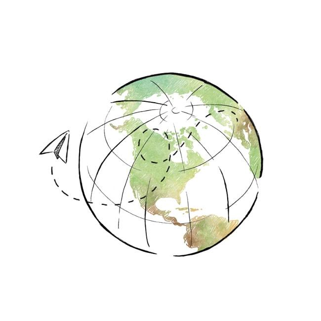 Rysunek ziemi z lecącym dookoła samolocikiem