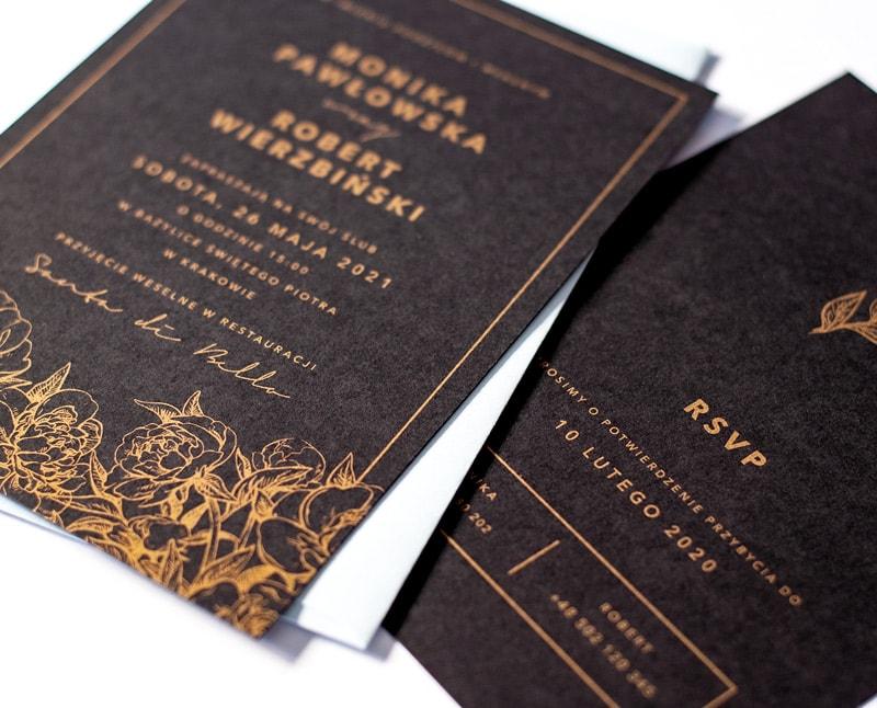 Czarno złote zaproszenia ślubne