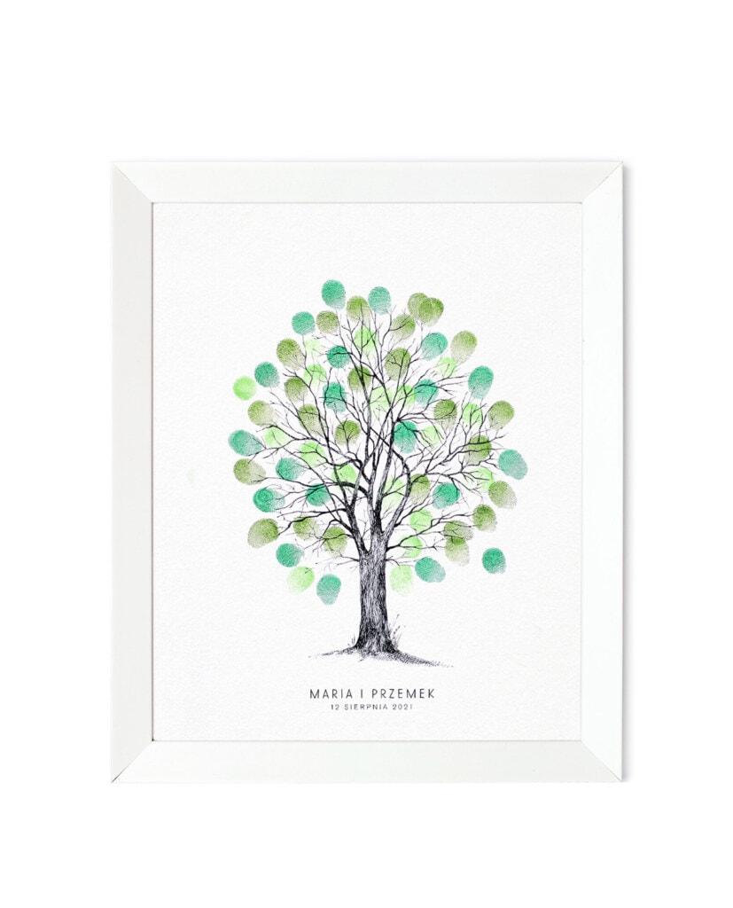 Drzewko na odciski palców, zielone liście