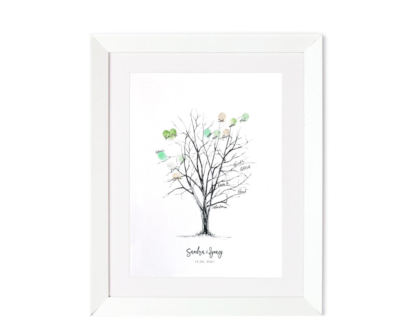 Drzewko na odciski palców w białej ramce