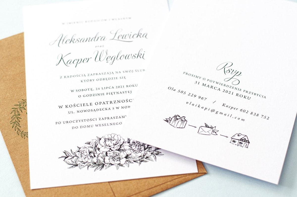 Informacja o prezentach na zaproszeniach