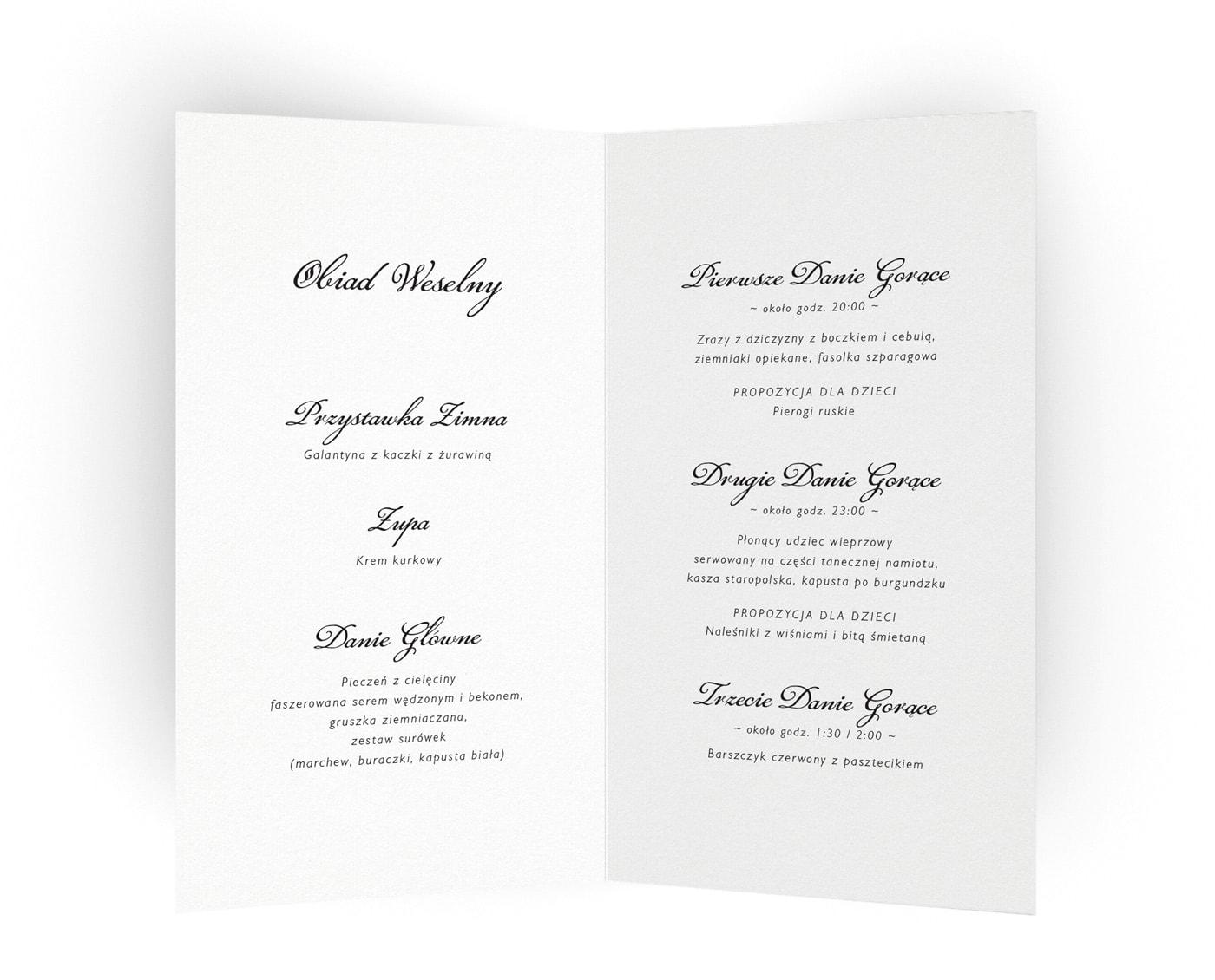 Klasyczne karty menu na stoły weselne