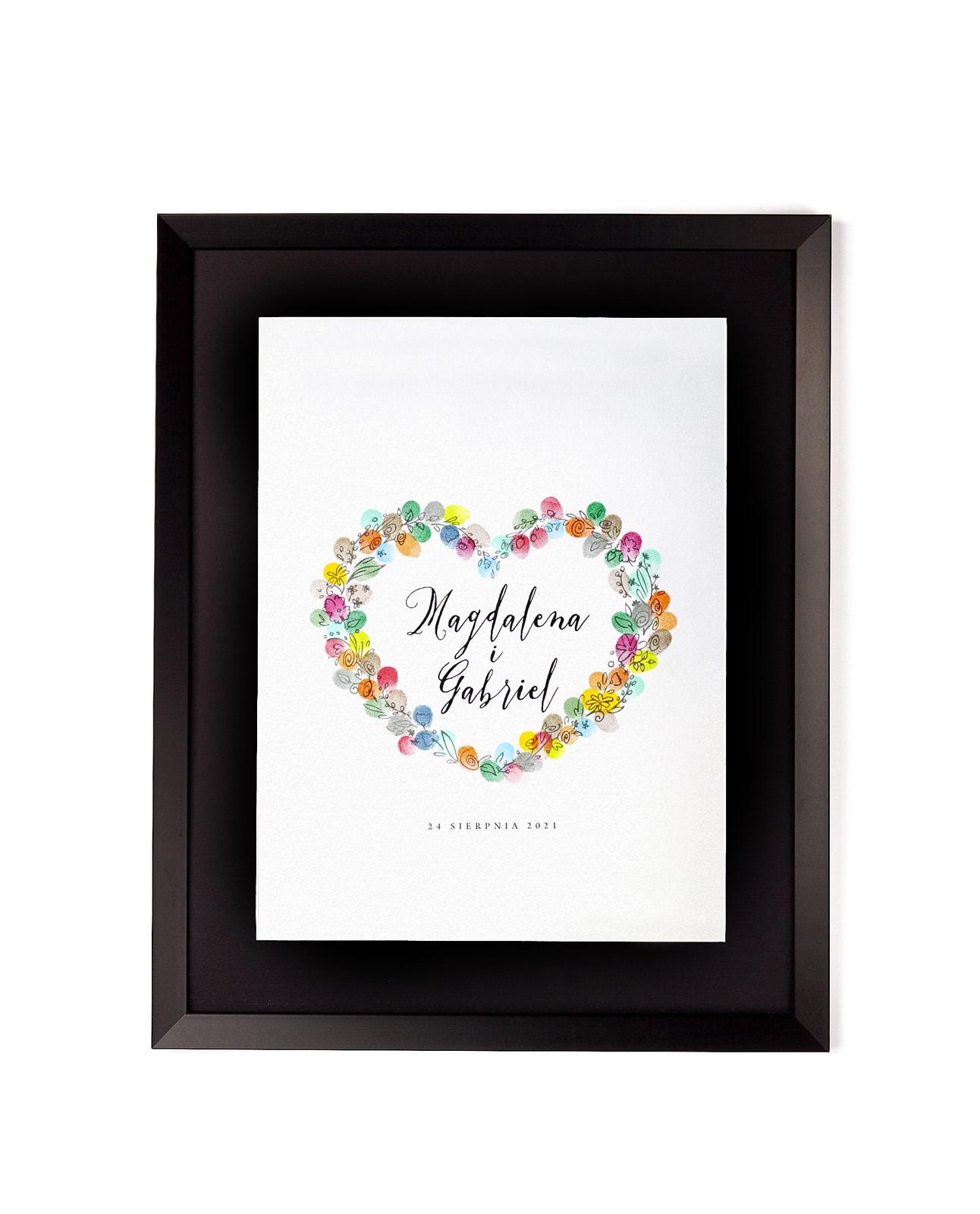Kreatywna księga gości z odcisków palców, polne kwiaty w kształcie serca
