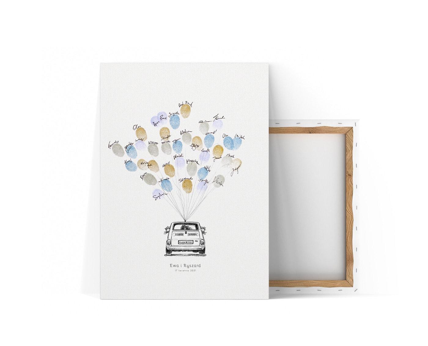 Księga gości na płótnie z autem i balonami z odcisków palców