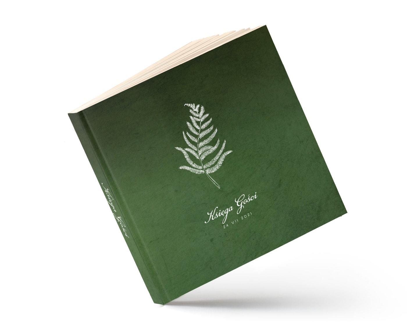 Księga gości w butelkowej zieleni z liściem paproci