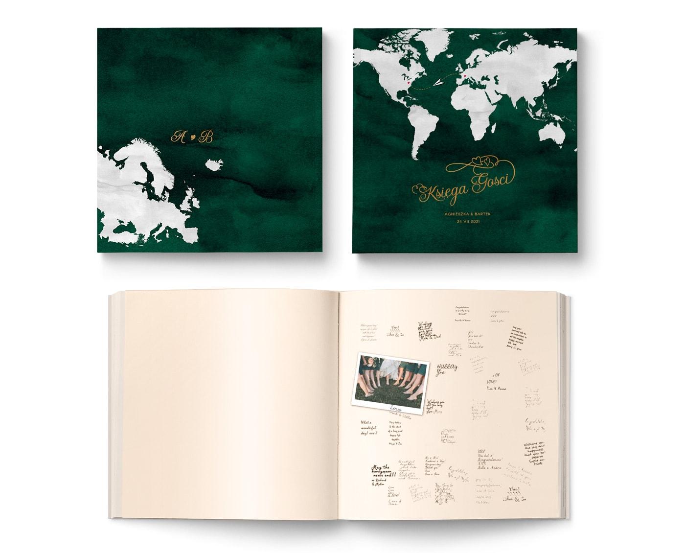 Księga gości w podróżniczym stylu w kolorze butelkowej zieleni