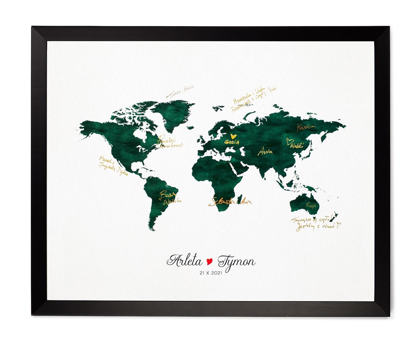 Księga gości z mapą świata, butelkowa zieleń, złote podpisy