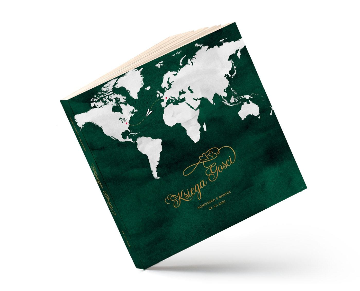 Księga gości w kolorze butelkowej zieleni z białą mapą świata