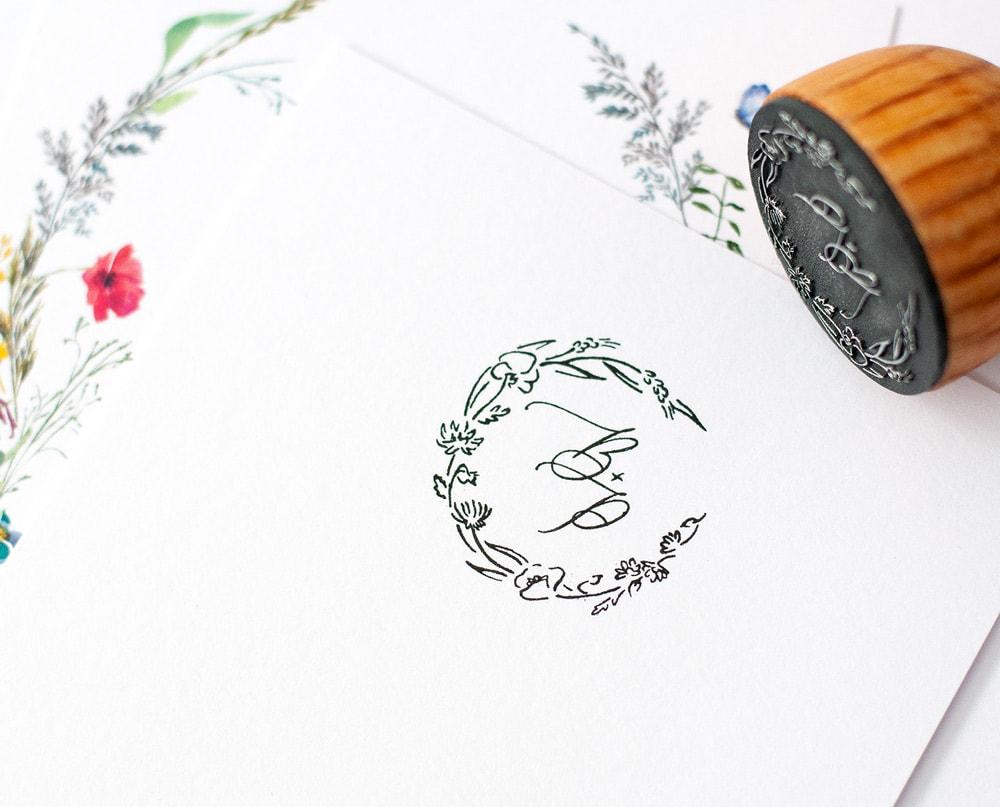 Pieczątka ślubna polne kwiaty