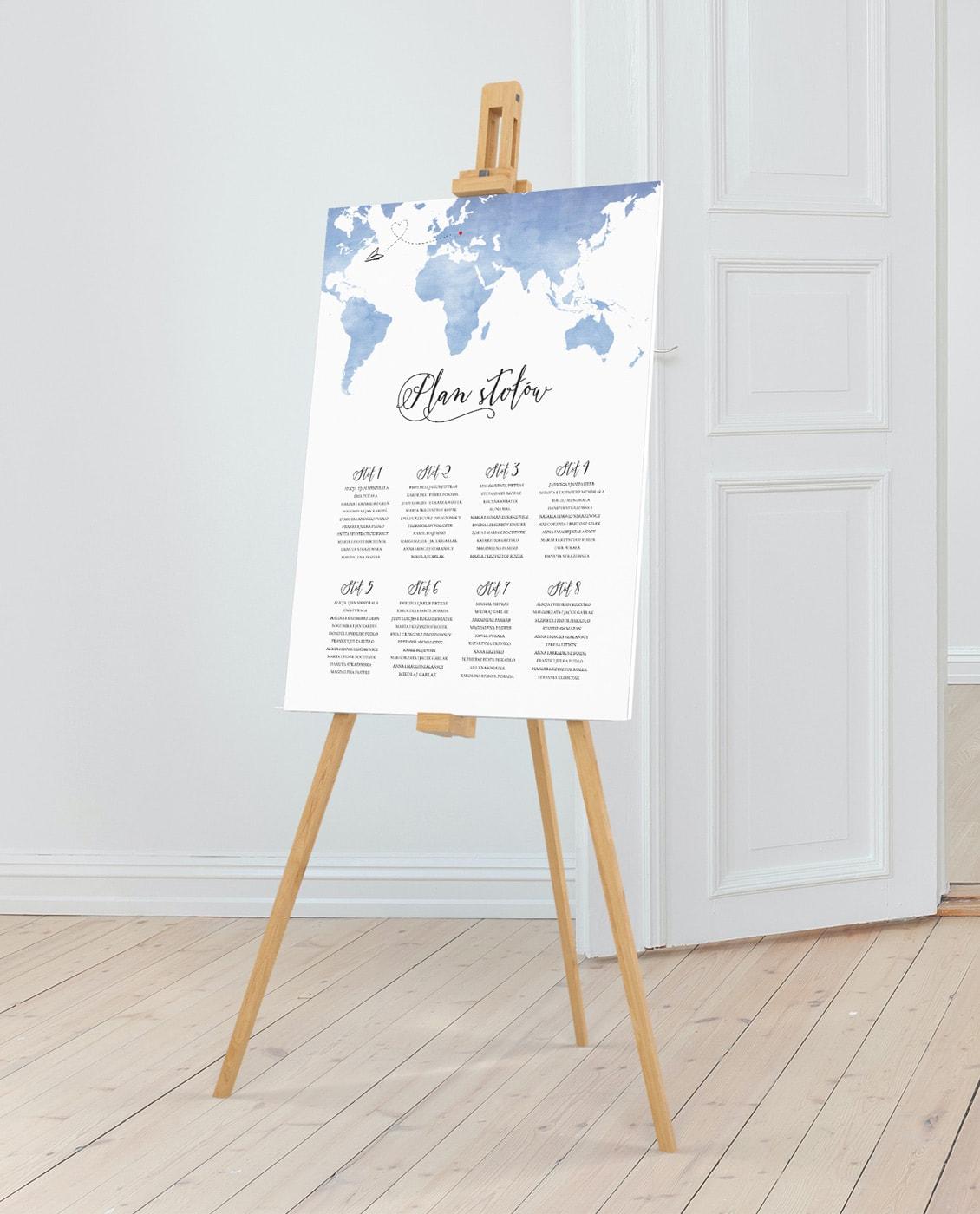 plan usadzenia gości w podróżniczym stylu, morski kolor mapy i kaligraficzna czcionka