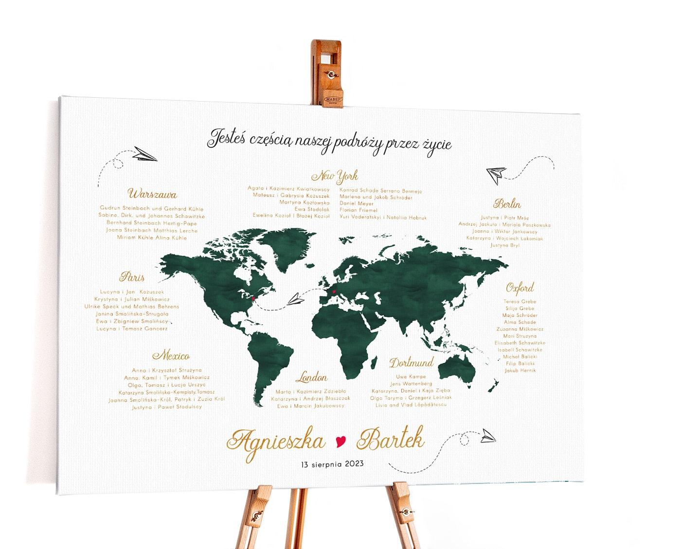 Plan stołów weselnych z mapą świata w butelkowej zieleni