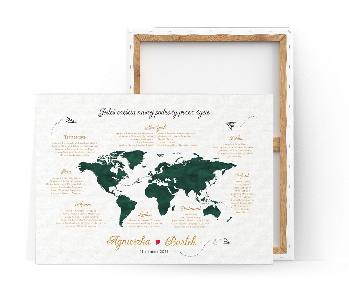 Plan usadzeni gości z mapą świata w kolorze butelkowej zieleni