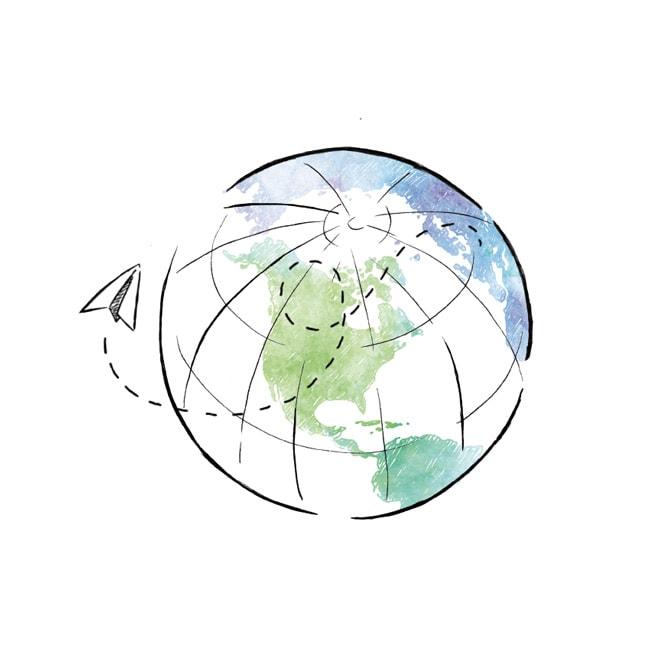 Rysunek ziemi w zielono niebieskich kolorach