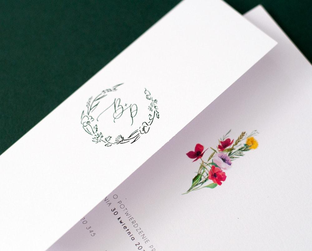 Polne kwiaty stempel ślubny z inicjałami