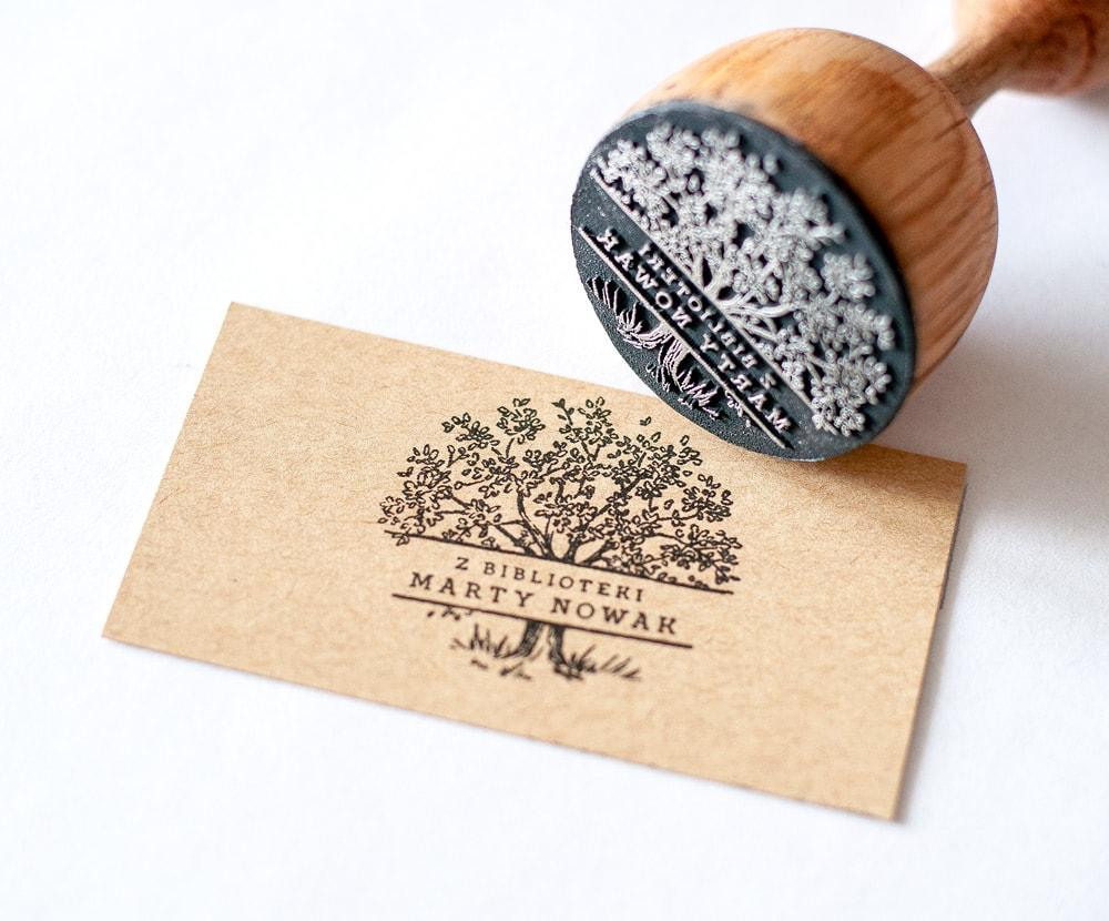 stempel exlibris z drzewem