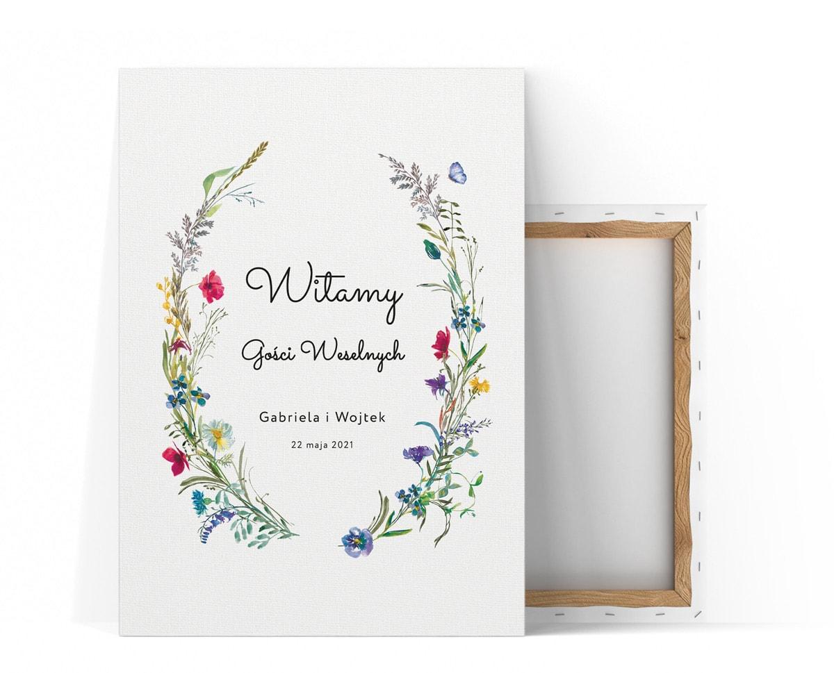 Tablica powitalna na sztalugę z polnymi kwiatami