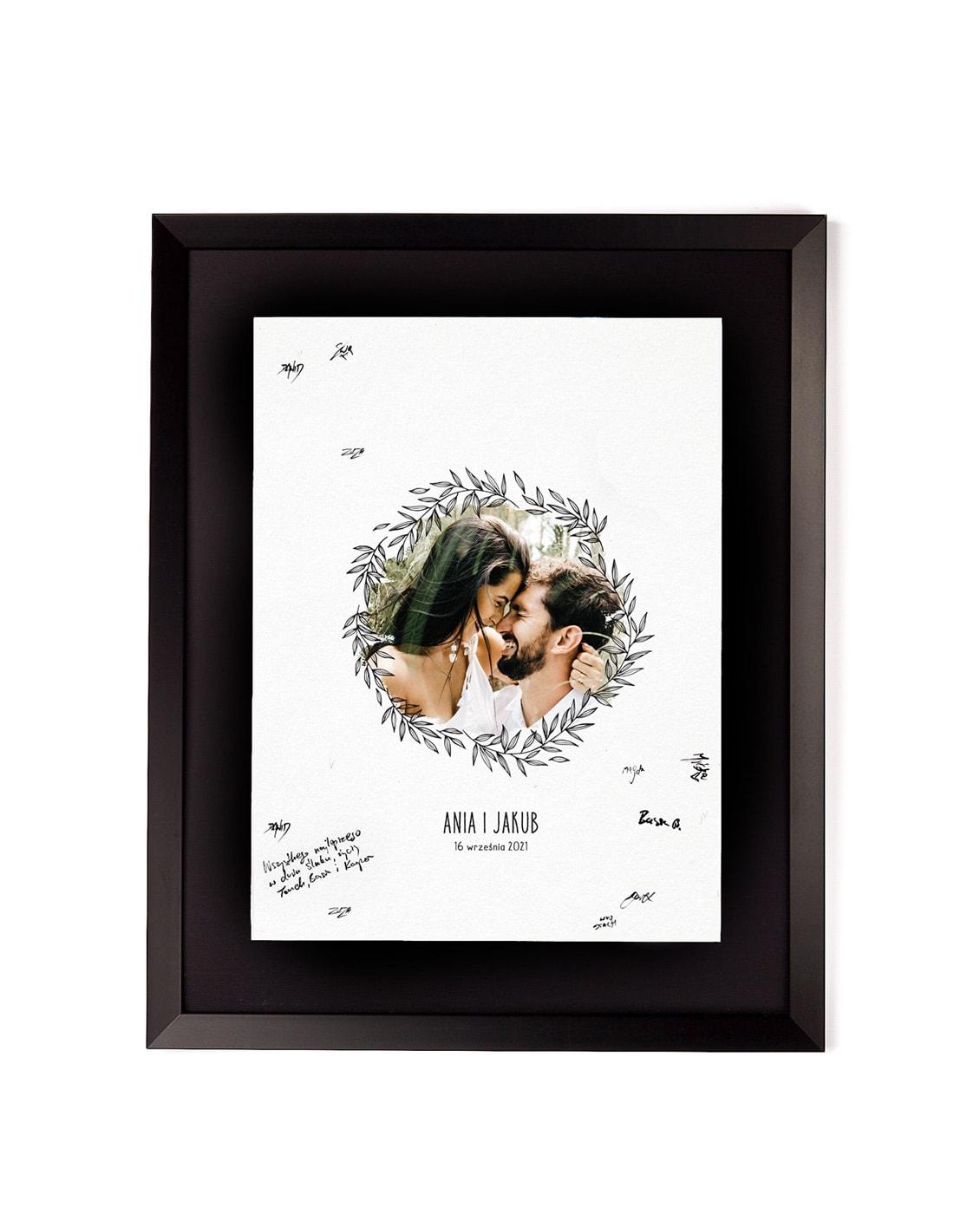 tablica powitalna w ramce, zdjęcie pary młodej, styl boho