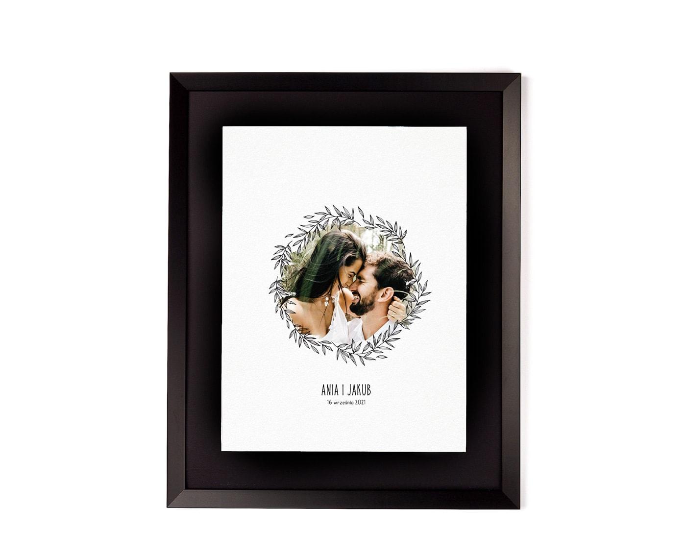 tablica powitalna w stylu boho ze zdjęciem pary młodej